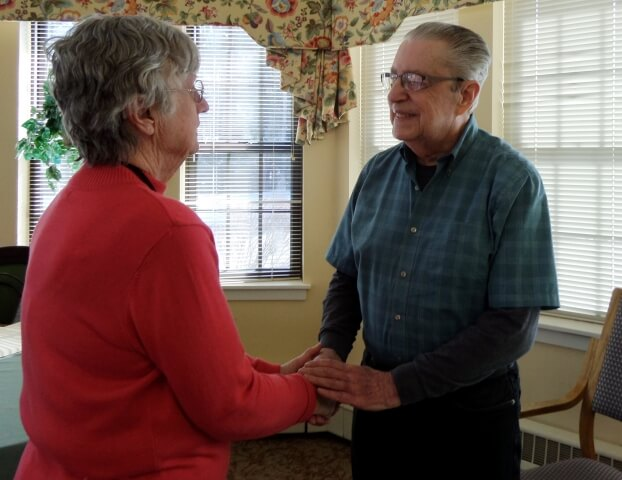 Ombudsman Annmarie Newton and Robert Keating, a resident of Quabbin Valley Healthcare, share introductions.
