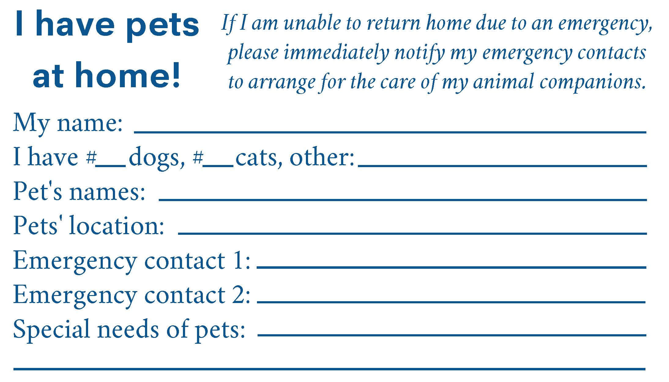 I have an animal at home card
