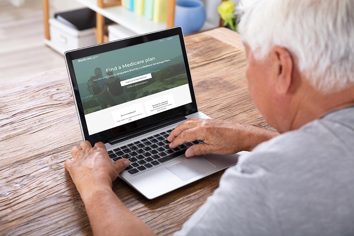 Man visiting the MyMedicare.gov website