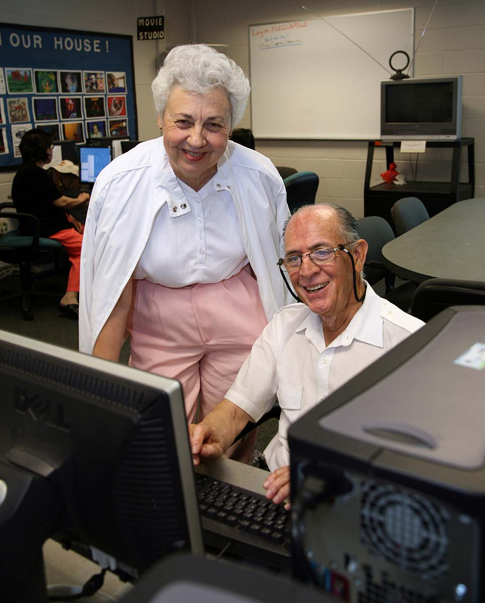 Senior couple using a computer