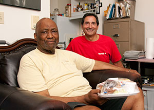 A Meals on Wheels volunteer and recipient.